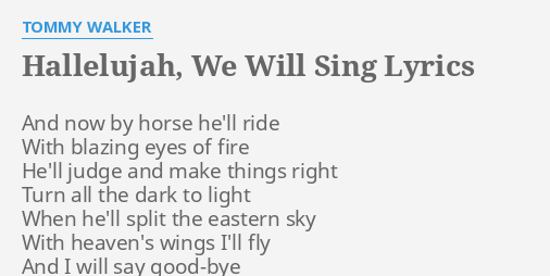i will sing hallelujah lyrics