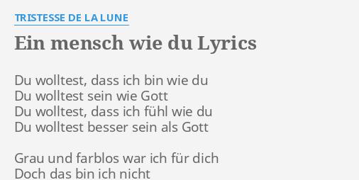 ich bin nicht wie du lyrics