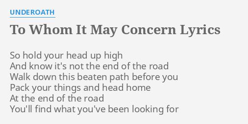 To whom it may concern lyrics by underoath so hold your head to whom it may concern lyrics by underoath so hold your head altavistaventures Gallery