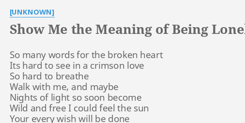 Show Me The Meaning Of Being Lonely Lyrics By Unknown So Many