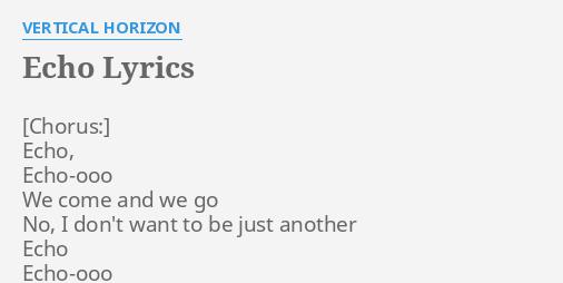 Echo Vertical Horizon Lyrics – Fashionsneakers club
