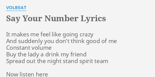 SAY YOUR NUMBER