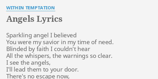 Angels Lyrics By Within Temptation Sparkling Angel I Believed