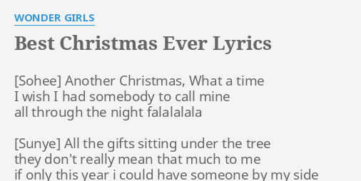 best christmas ever lyrics by wonder girls another christmas what a - Best Christmas Lyrics