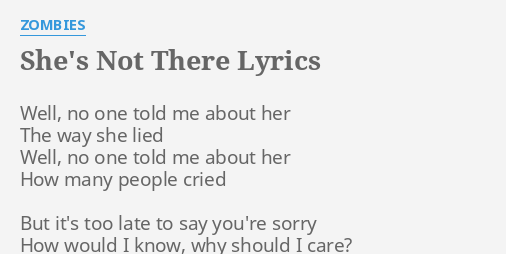 No One Told Me About Her Lyrics